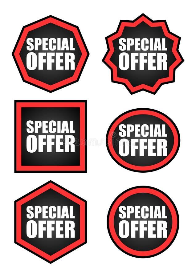 Ensemble d'étiquettes d'offre spéciale illustration stock
