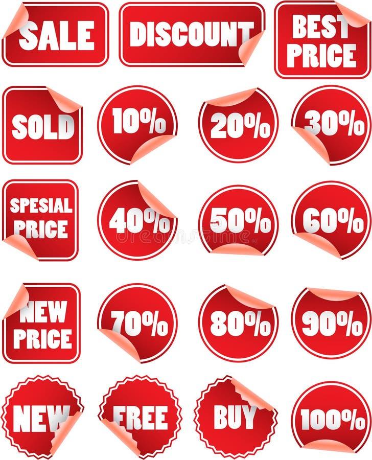 Ensemble d'étiquettes rouges de vente illustration stock