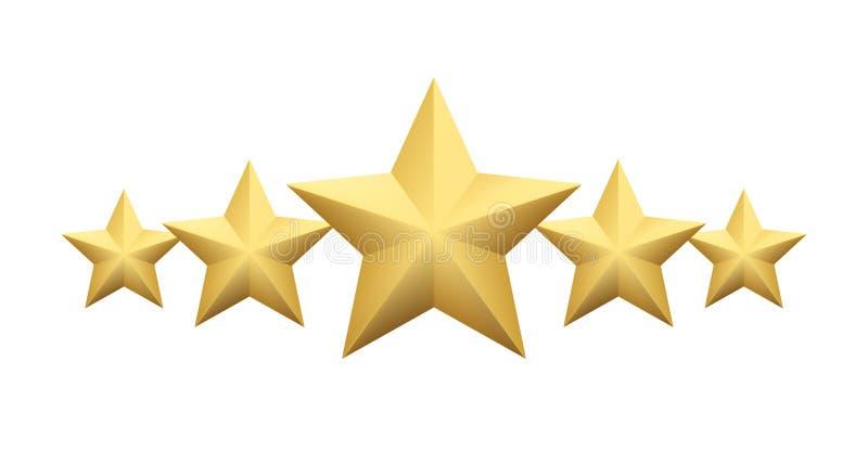 Ensemble d'étoile d'or métallique réaliste d'isolement sur le fond blanc Illustration de vecteur illustration de vecteur