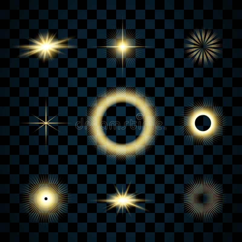 Ensemble d'étoiles d'or d'étincelle, fond transparent d'isolement Effet d'éclat de lueur Éclat magique d'or avec le scintillement illustration stock