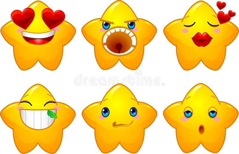 Ensemble d'étoiles de smiley illustration libre de droits