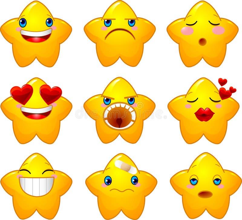 Ensemble d'étoiles de smiley illustration de vecteur