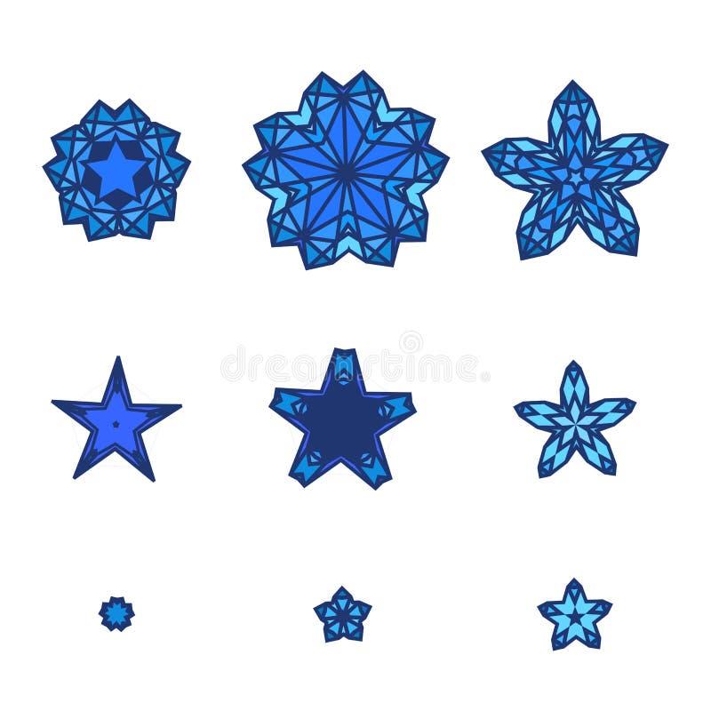Ensemble d'étoiles, flocons de neige Icône d'étoile dans le style plat de conception illustration stock