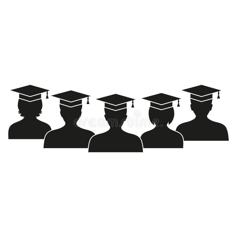 Ensemble d'étudiants de h dans les chapeaux et des robes traditionnels célébrant l'obtention du diplôme réussie, illustration de  illustration stock