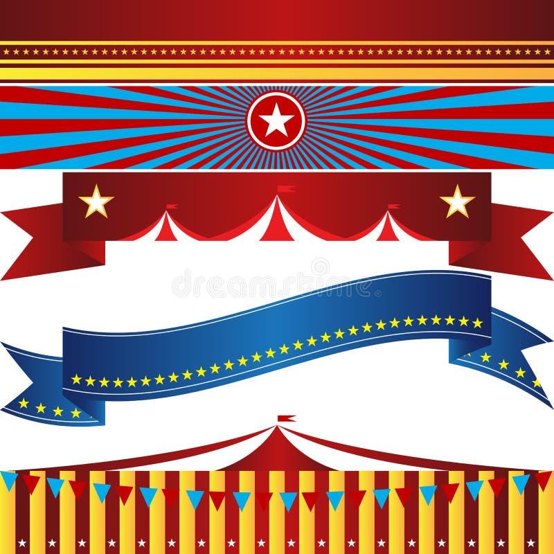 Ensemble d'événement de bannière de carnaval de cirque illustration libre de droits