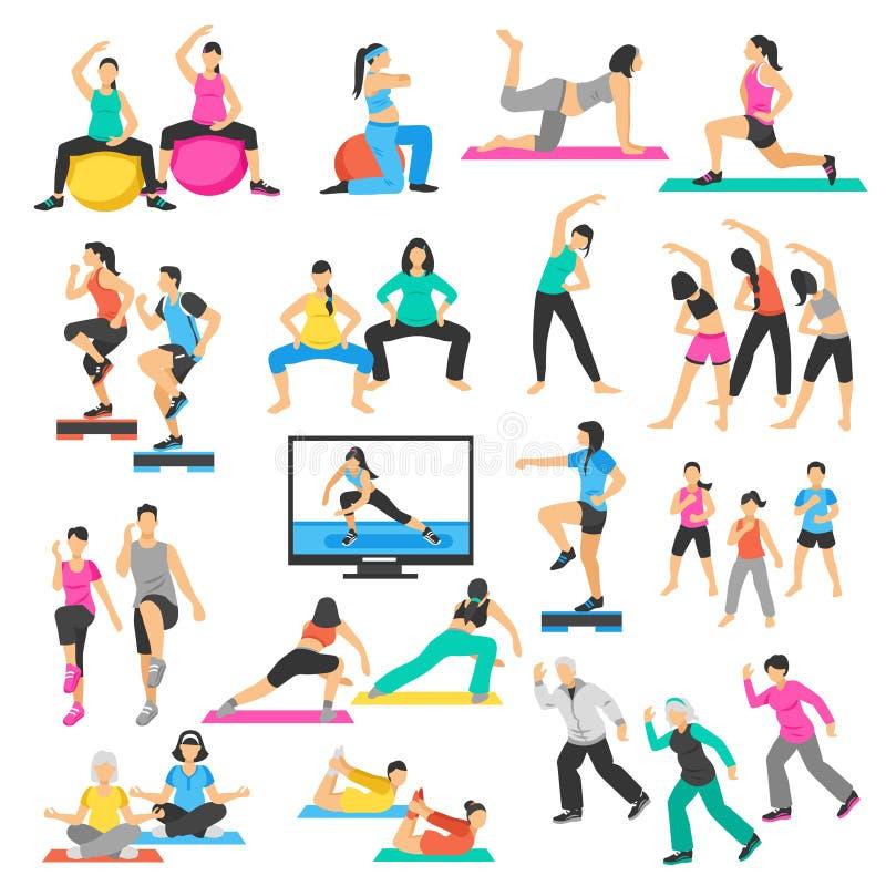 Ensemble d'aérobic de gymnastique de yoga de personnes illustration libre de droits