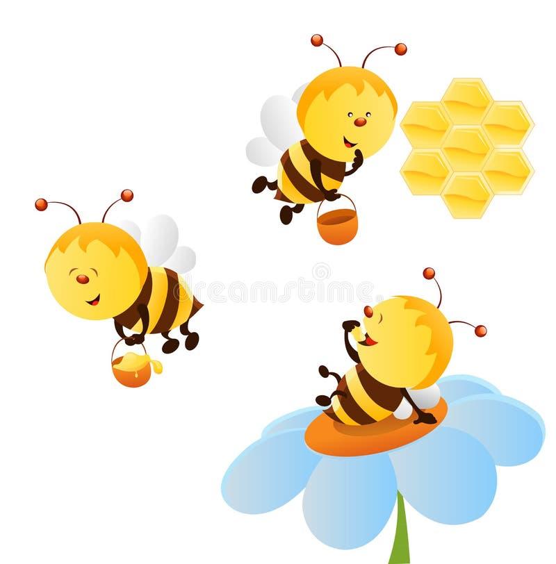 Ensemble d'abeille illustration de vecteur
