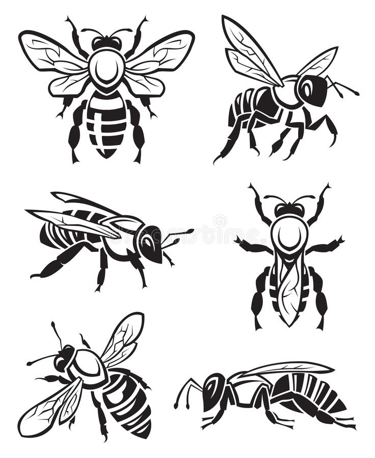 Ensemble d'abeilles illustration de vecteur