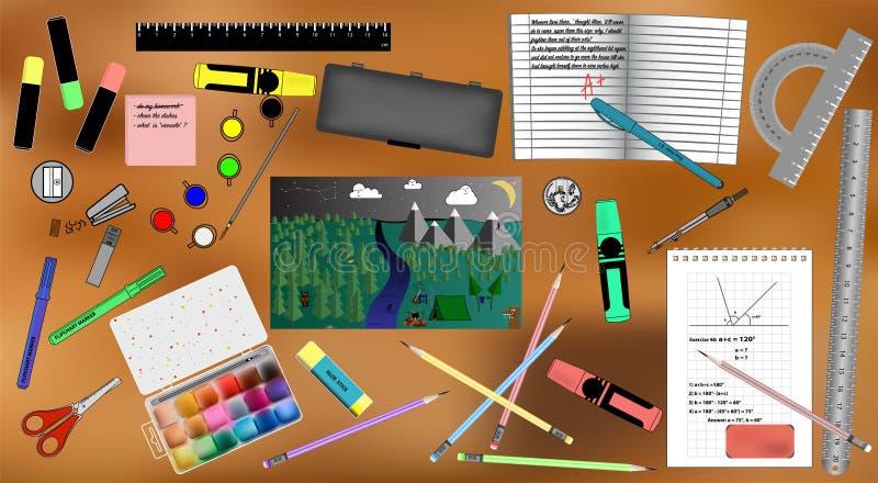 Ensemble d'accessoires et de peinture d'école illustration libre de droits