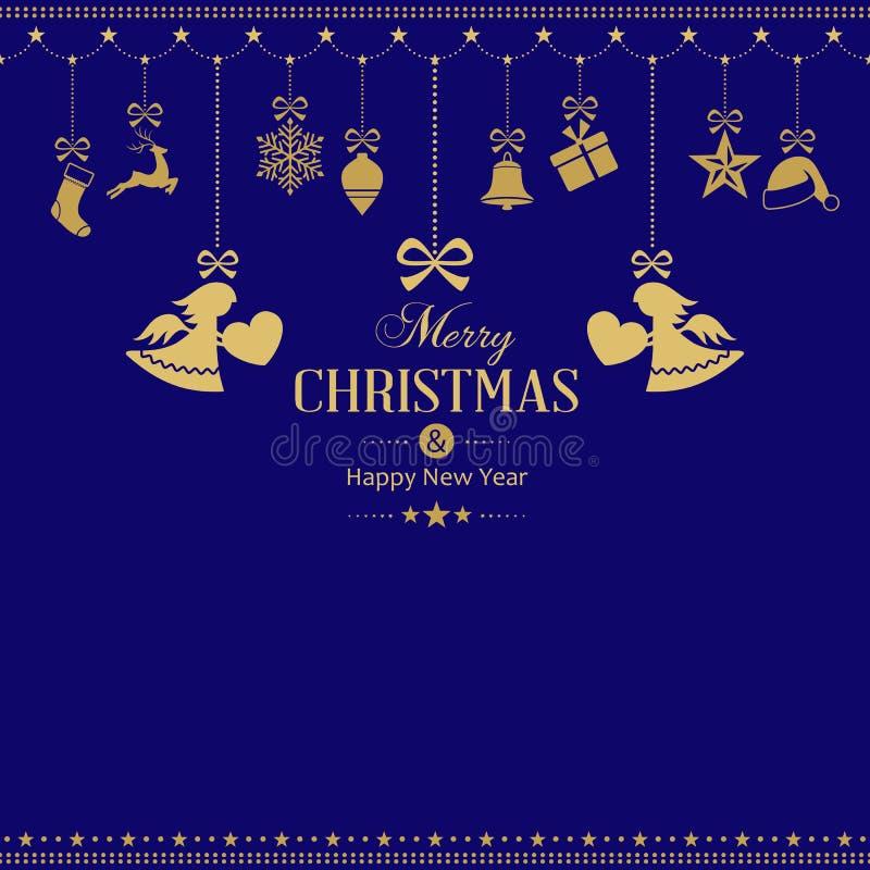 Ensemble d'accrocher les ornements d'or de Noël avec des anges illustration stock