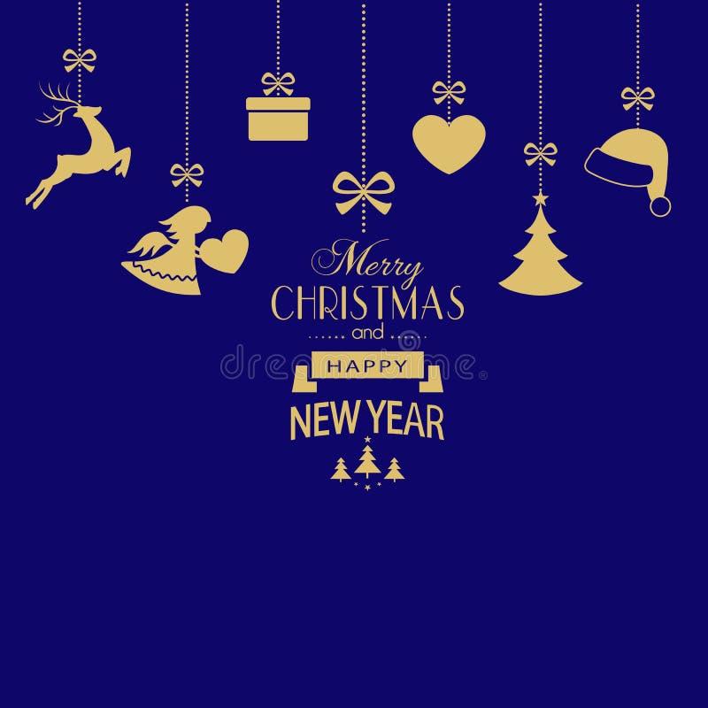 Ensemble d'accrocher les ornements d'or de Noël sur le backgroun bleu-foncé illustration libre de droits