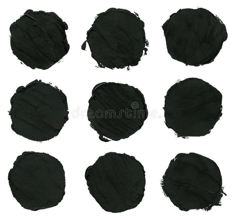 Ensemble d'acrylique noir, courses de brosse d'encre, taches illustration libre de droits