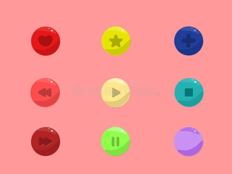 Ensemble d'actions de vecteur de boutons arrondis colorés, signes illustration de vecteur