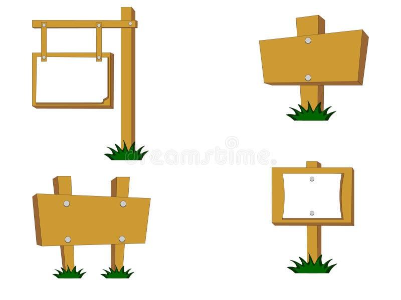 Ensemble d'actions de vecteur de divers panneaux routiers en bois avec l'herbe illustration libre de droits