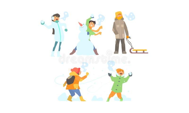 Ensemble d'activités d'hiver, faisant le bonhomme de neige, jouant des boules de neige, enfants ayant l'amusement et appréciant l illustration de vecteur