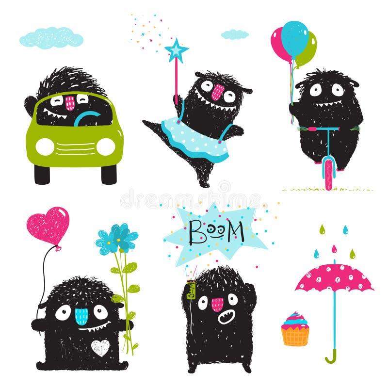 Ensemble d'activités noires de monstres d'enfants drôles pour la conception graphique d'enfants illustration stock