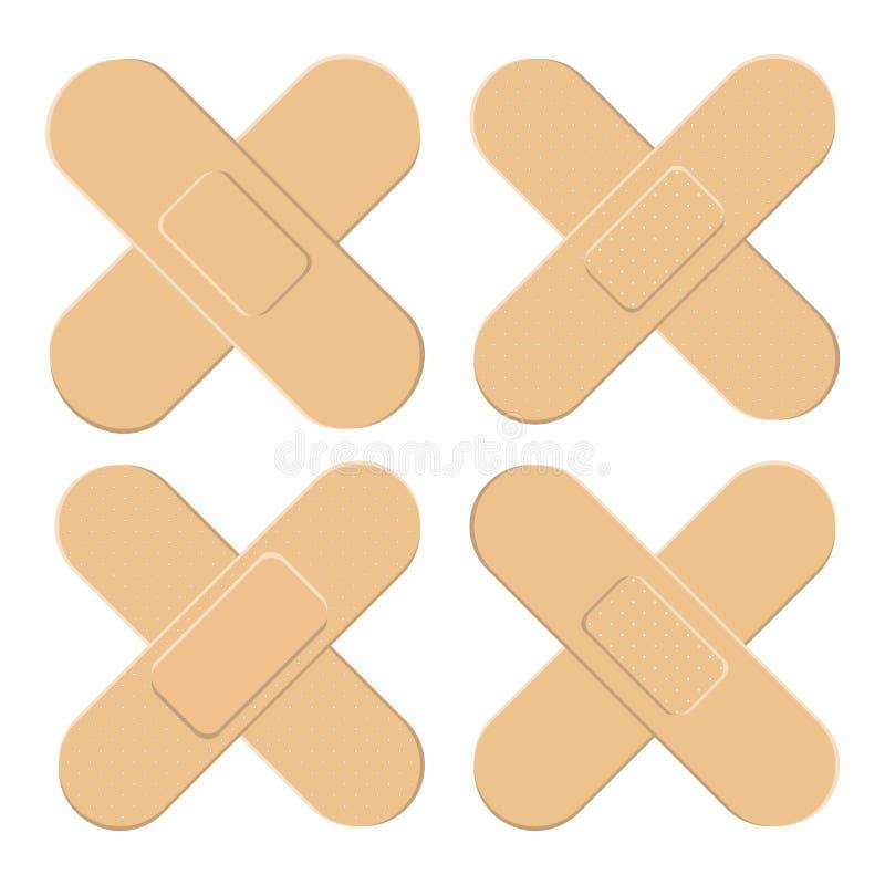 Ensemble d'adhésif, flexible, plâtre de tissu Bandage médical dans la forme différente - croix de straigh Illustration de vecteur illustration libre de droits