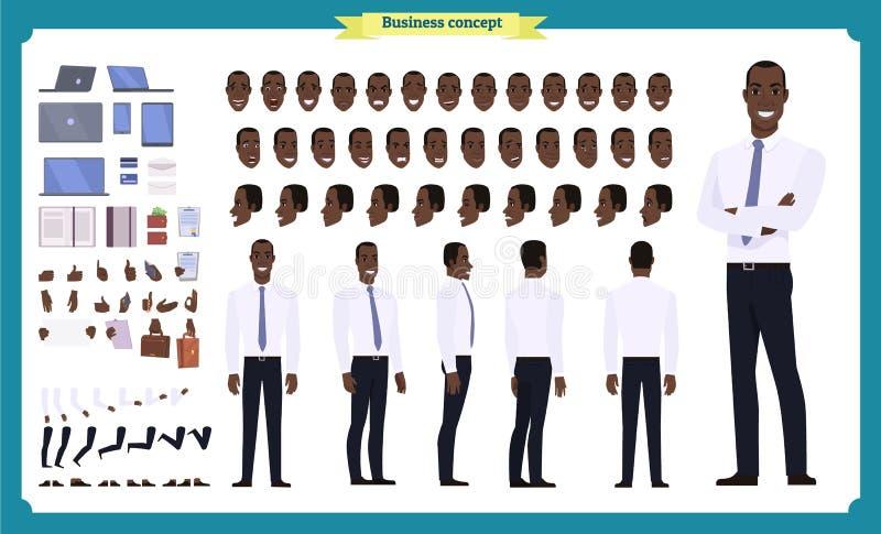 Ensemble d'affaires de caractère de personnes Avant, côté, caractère animé de vue arrière Ensemble américain noir de création de  photos stock