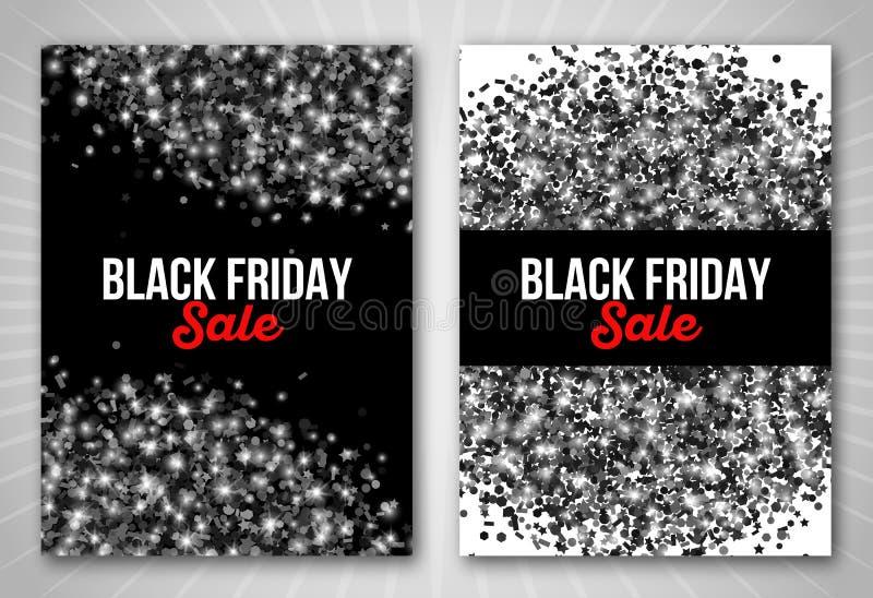 Ensemble d'affiche de vente de Black Friday avec le salut de confettis illustration libre de droits