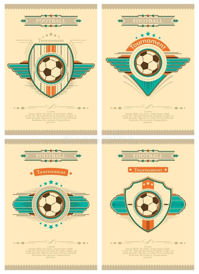 Ensemble d'affiche du football dans le rétro style avec l'emblème, la boule et les étoiles Invitation de tournoi Conception de ve illustration libre de droits