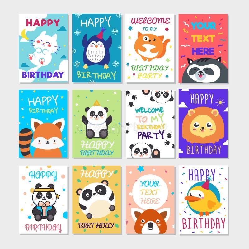 Ensemble d'affiche mignonne d'animaux Carte de voeux mignonne de joyeux anniversaire pour le style de bande dessinée d'amusement  illustration de vecteur