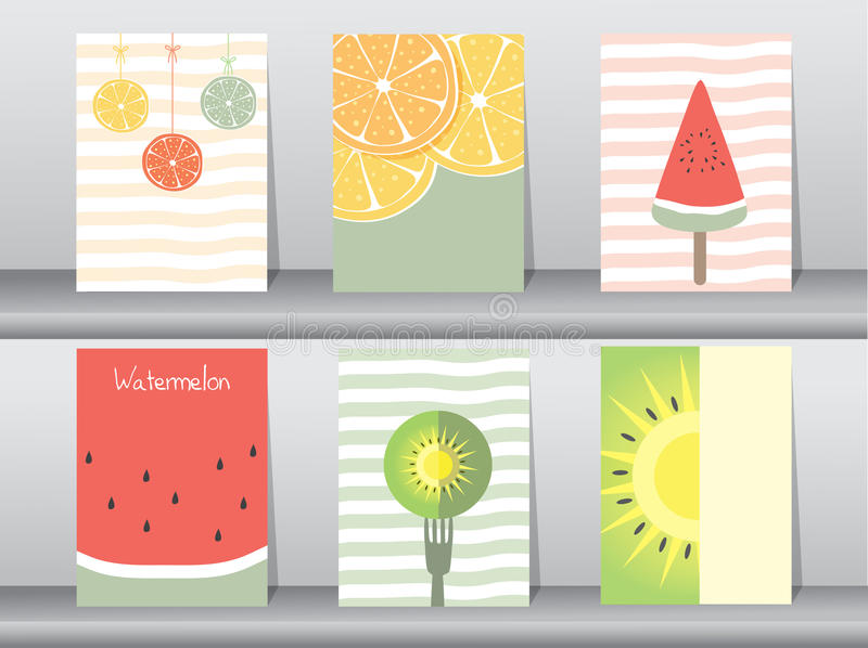 Ensemble d'affiche mignonne de fruit illustration stock