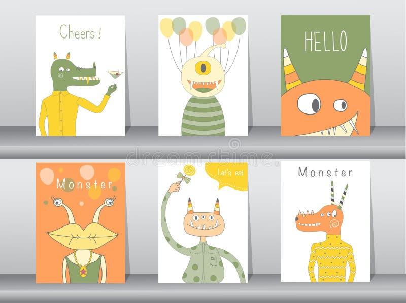 Ensemble d'affiche mignonne de monstre, calibre, cartes, partie, illustrations de vecteur illustration stock