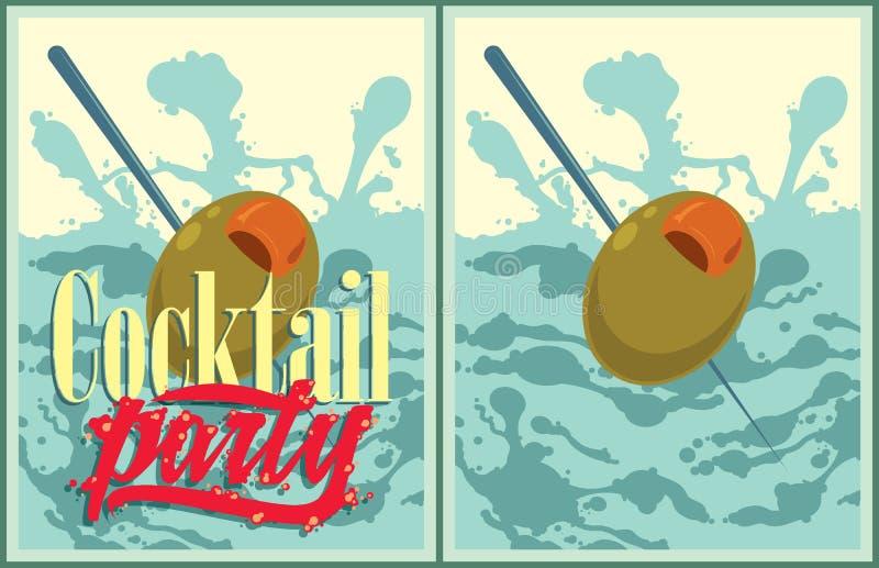 Ensemble d'affiches de cocktail de vecteur illustration stock