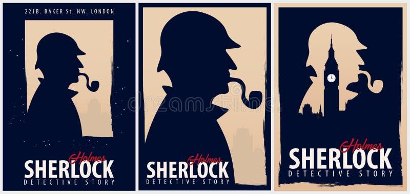 Ensemble d'affiches de Sherlock Holmes Illustration révélatrice Illustration avec Sherlock Holmes Rue 221B de Baker Londres GRAND illustration de vecteur