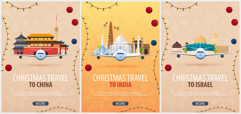 Ensemble d'affiches de voyage de Noël vers la Chine, Inde, Israël Neige et roches de bateau Illustration de vecteur illustration libre de droits