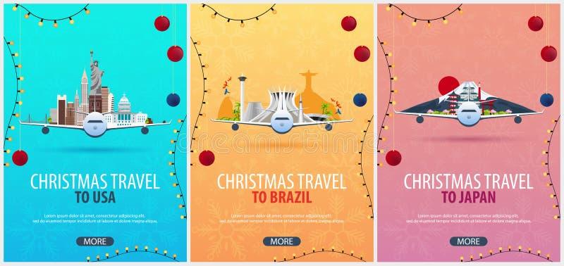 Ensemble d'affiches de voyage de Noël vers les Etats-Unis, Brésil, Canada Neige et roches de bateau Illustration de vecteur illustration stock
