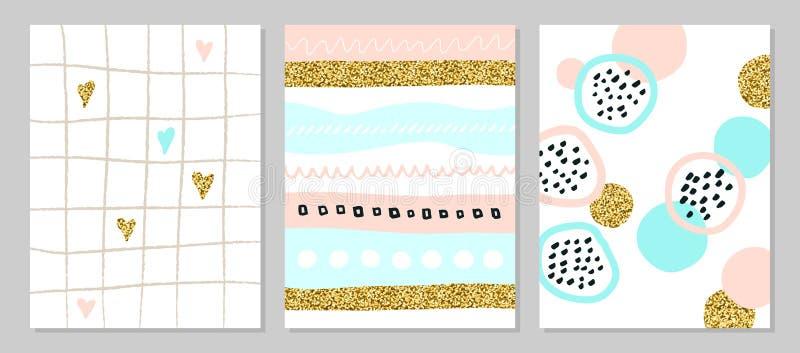 Ensemble d'affiches ou de cartes universelles créatives d'art avec les étincelles d'or Textures tirées par la main Mariage, anniv illustration libre de droits