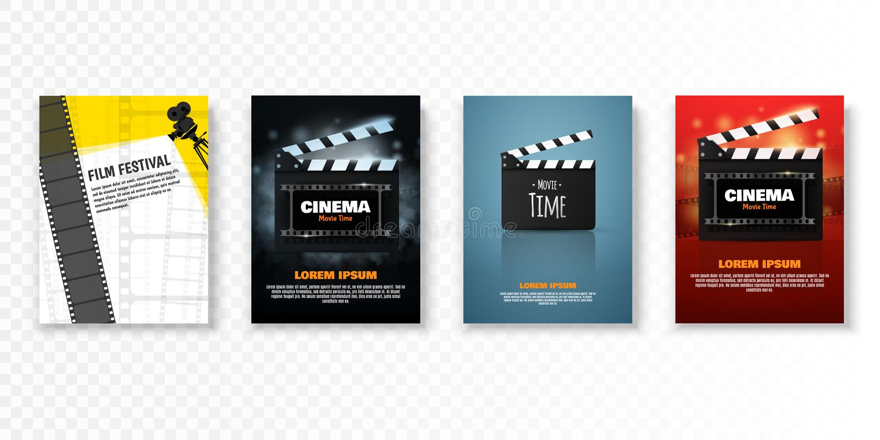 Ensemble d'affiches ou d'insectes de cinéma de vecteur Promotion de festival de film illustration stock