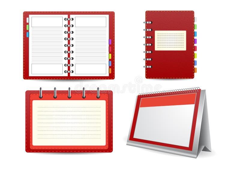 Ensemble d'agenda, de calendrier et d'organisateur illustration stock
