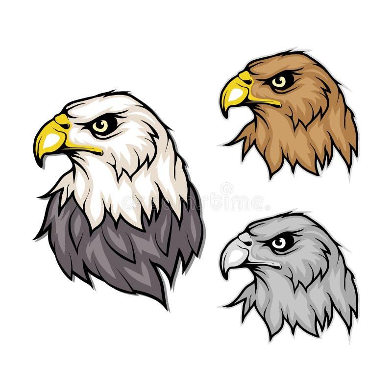 Ensemble d'aigles Logo d'aigle chauve Dessin sauvage d'oiseaux Tête d'un aigle illustration de vecteur
