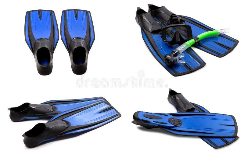 Ensemble d'ailerons de bain bleus, masque, prise d'air photo libre de droits