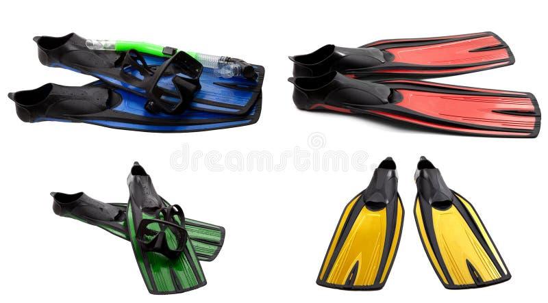 Ensemble d'ailerons de bain, de masque et de prise d'air multicolores pour la plongée image libre de droits