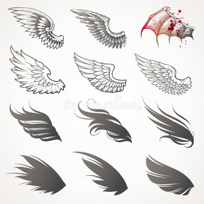Ensemble d'ailes. illustration libre de droits
