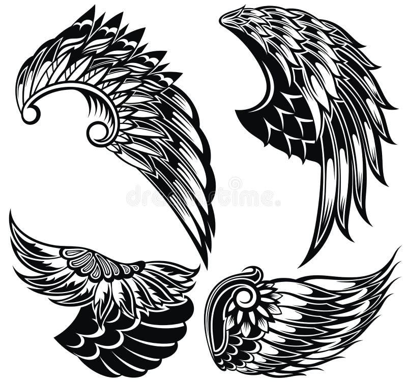 Ensemble d'ailes de vecteur Formes d'aile de vecteur Ic?nes d'aile illustration de vecteur