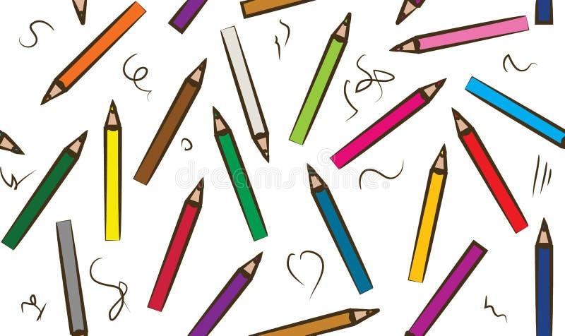 Ensemble d'aléatoire coloré de collection de crayon disposé - craynos d'isolement tirés par la main sans couture d'illustration d illustration libre de droits