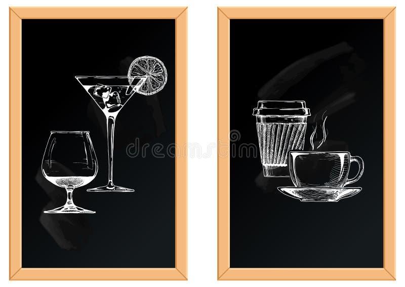 Ensemble d'alcoolique et de boissons non alcoolisées illustration stock