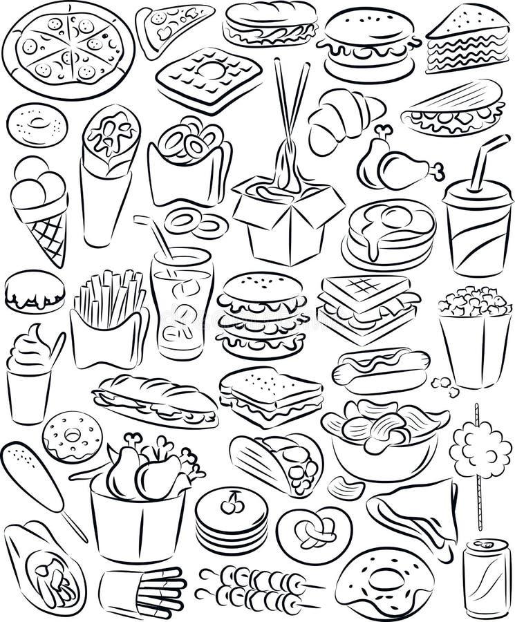 Ensemble d'aliments de préparation rapide illustration libre de droits