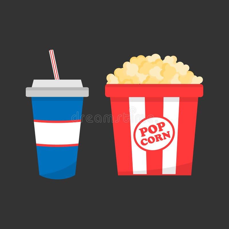 Ensemble d'aliments de préparation rapide de cinéma ; maïs éclaté et soude illustration stock