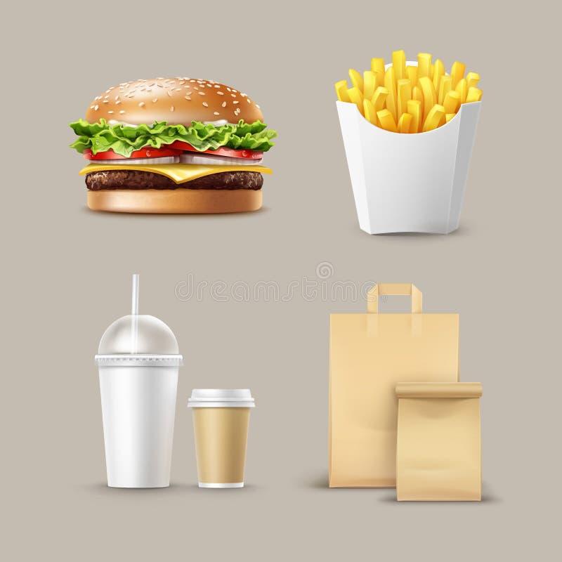 Ensemble d'aliments de préparation rapide de vecteur illustration de vecteur