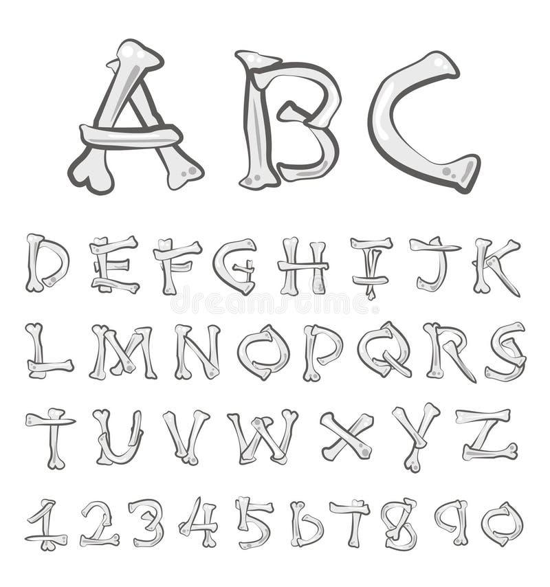 Ensemble d'alphabet d'os de vecteur illustration de vecteur
