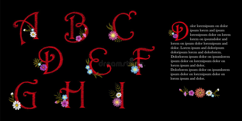 Ensemble d'alphabet de vintage de broderie Fleurs décoratives initiales de chapeau de baisse L'illustration rouge fleurie de vect illustration de vecteur