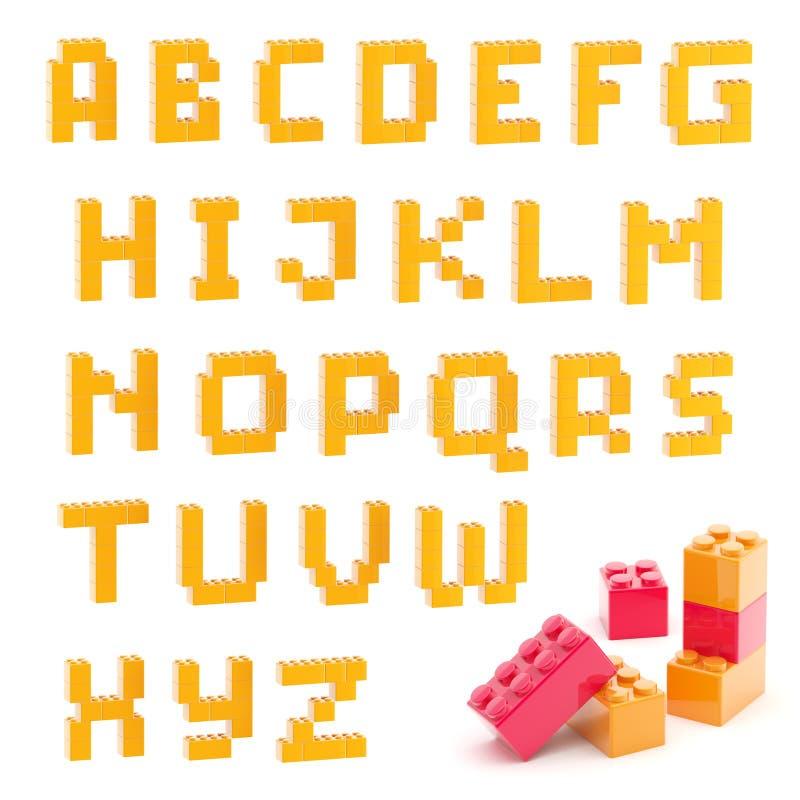 Ensemble d'alphabet fait de blocs de jouet d'isolement illustration libre de droits