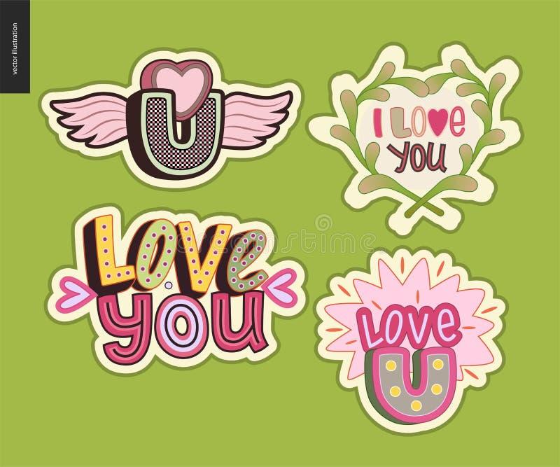 Ensemble d'amour contemporain de girlie vous marquez avec des lettres le logo illustration libre de droits
