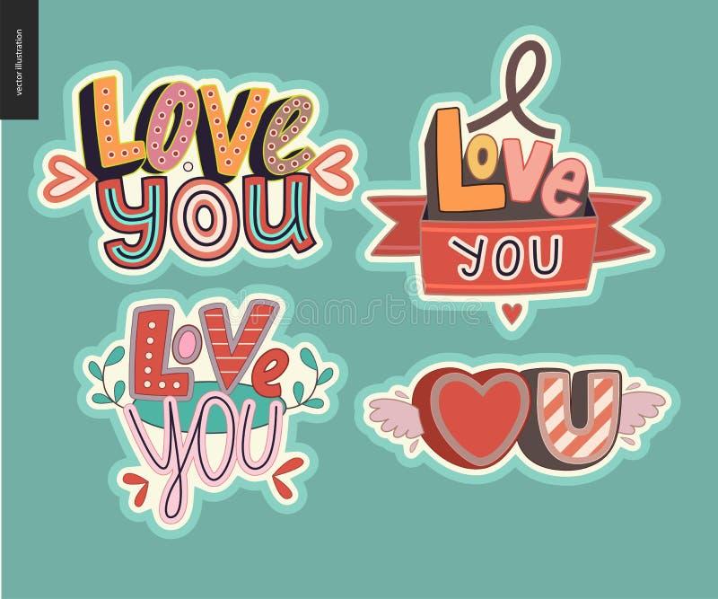 Ensemble d'amour contemporain de girlie vous marquez avec des lettres le logo illustration de vecteur