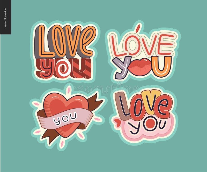 Ensemble d'amour contemporain de girlie vous marquez avec des lettres le logo illustration stock
